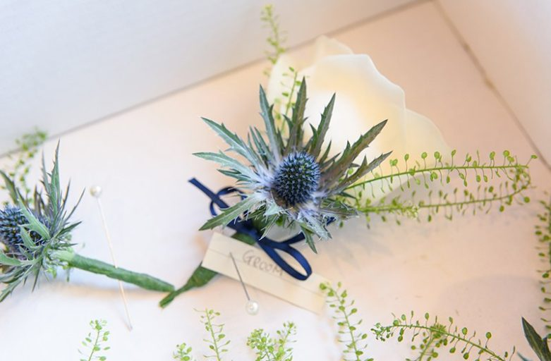 Thistle buttonhole for groom
