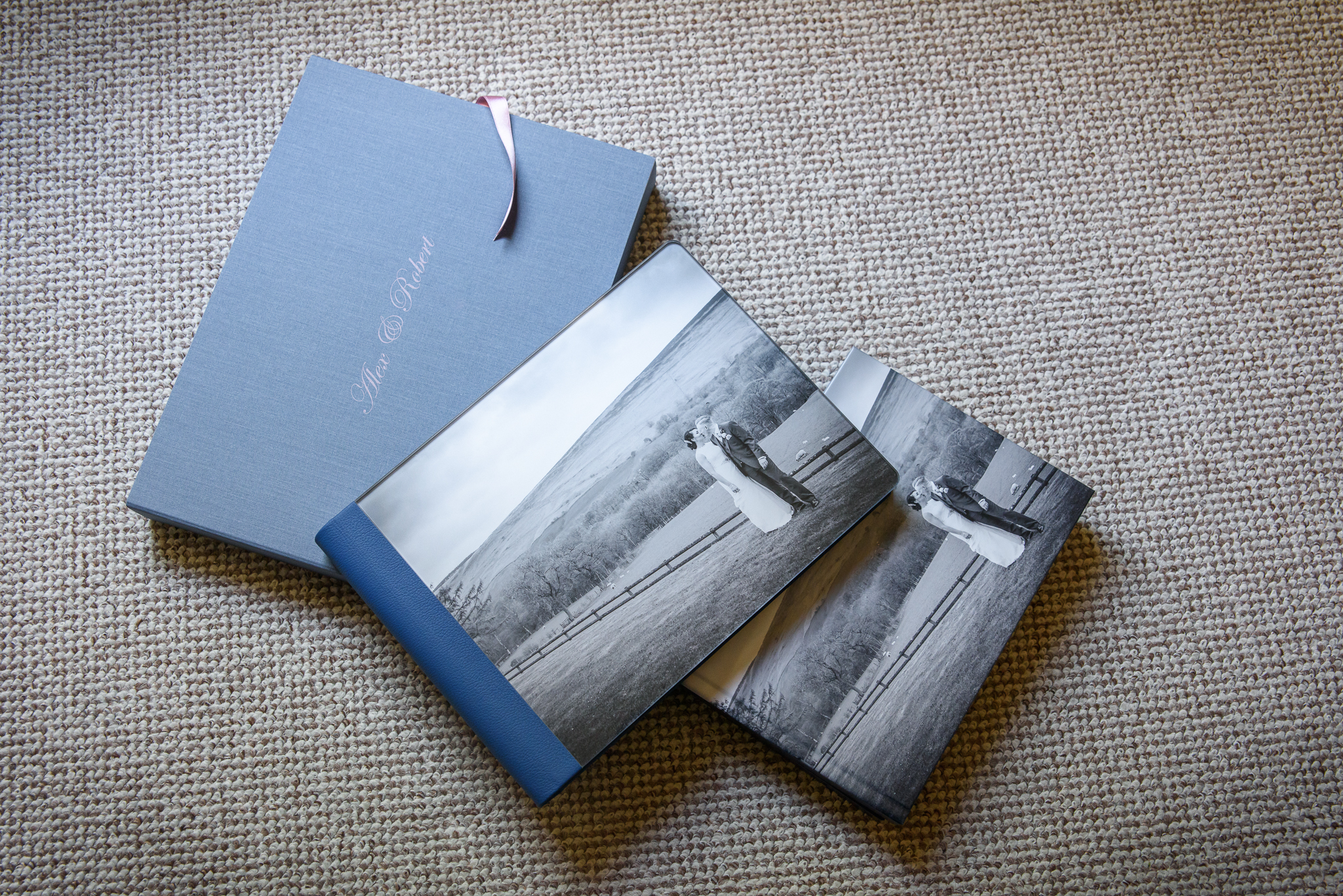 Luxury wedding album with acrylic cover and blue leather spine