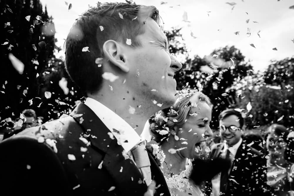 wedding confetti shot in Kent