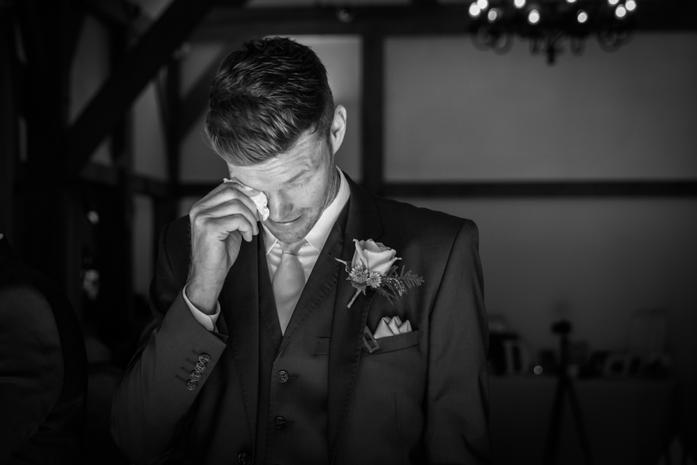 Groom getting emotional during ceremony - Cheshire