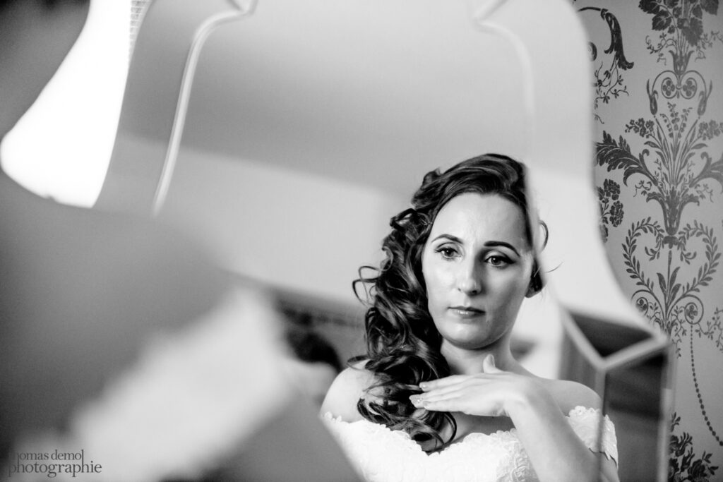 Bride getting ready at Beeston Manor
