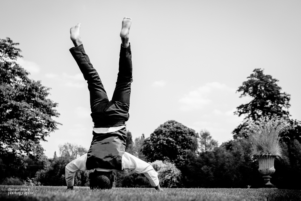 Child doing head stand