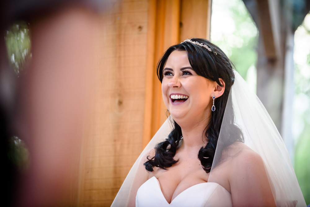 Laughing bride at Oak Tree of Peover