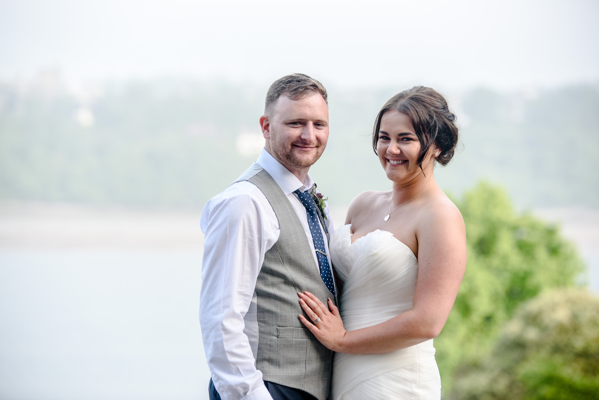 Bride and groom portrait at Chateau Rhianfa