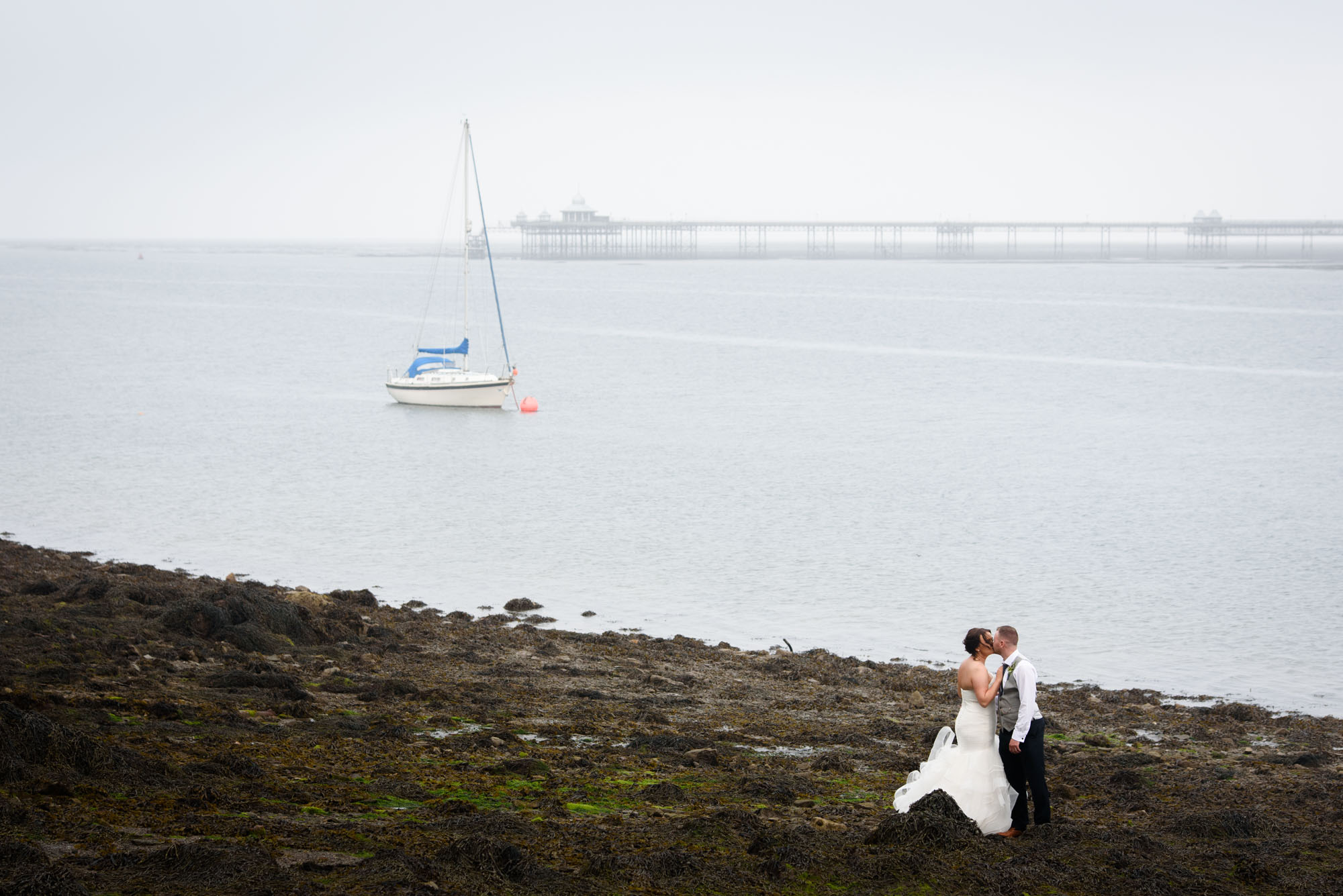 Wedding portrait on the shore of Menai Strait