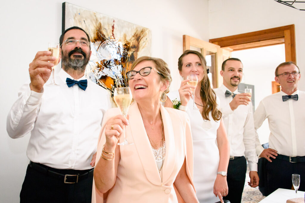 Bride family having a drink before ceremony