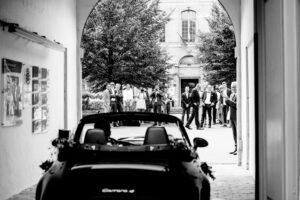 Bride and groom arriving