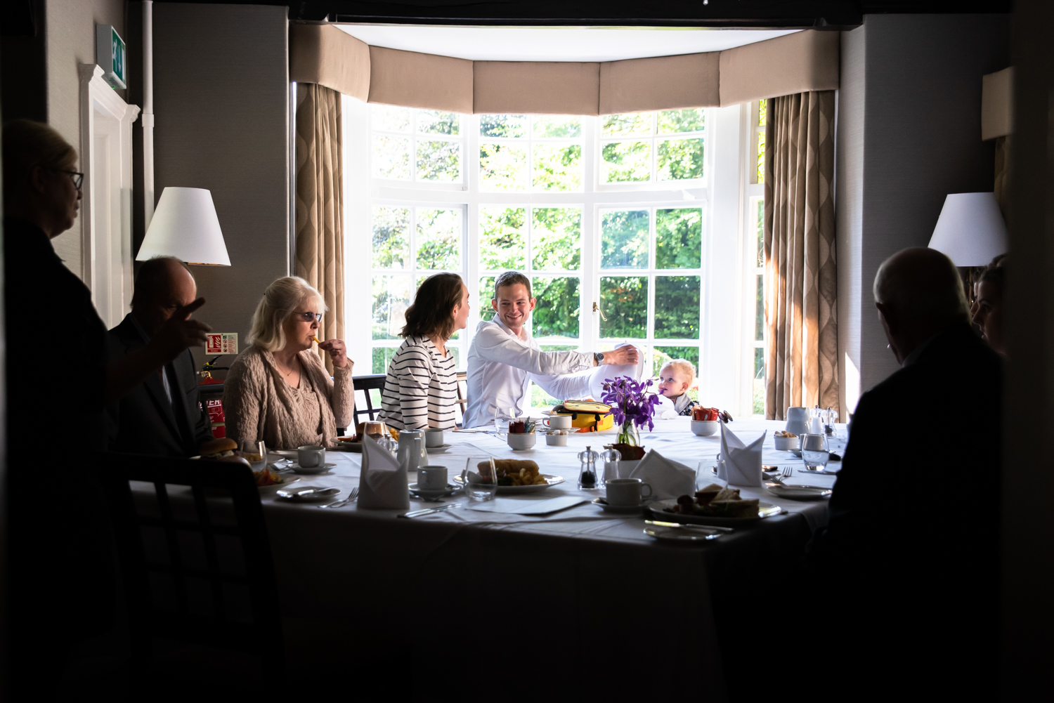 Family brunch before the wedding at the Mere court hotel Knutsford