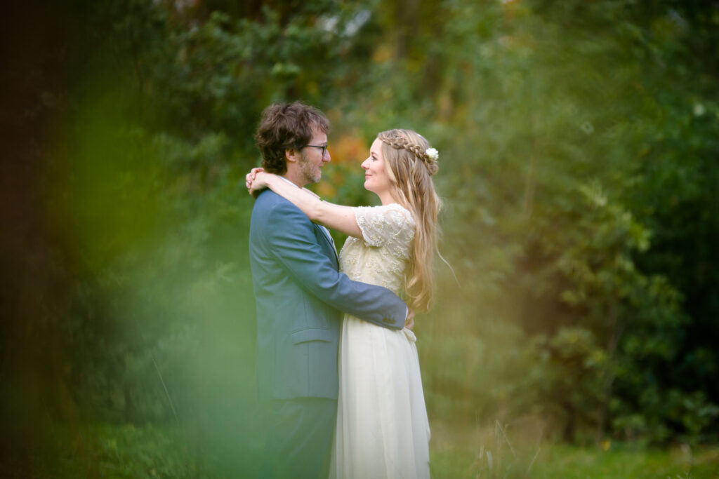 Bride and groom portrait in Fletcher Moss park