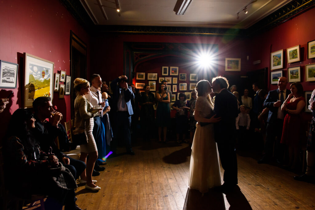 Bride and groom dancing at the Didsbury Parsonage