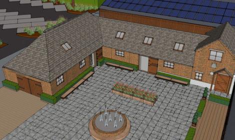 Hanbury Wedding barn sketch artist of the courtyard
